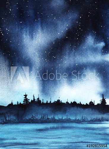 368x500 Starry Night Over A Forest Lake. Deep Dark Sky With Stars