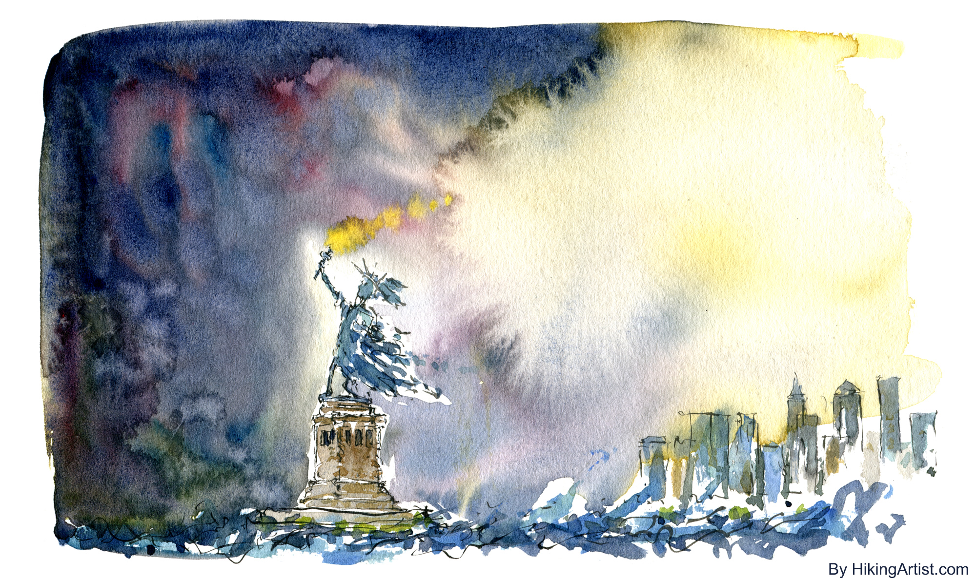 2000x1190 Statue Liberty New York Hurricane The Hiking Artist Project By