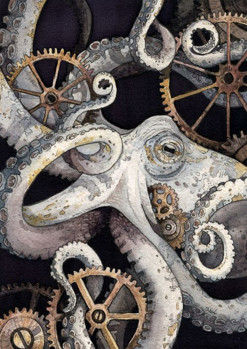 500x706 Nautical Steampunk Watercolor By Chloe Yingst Steampunked