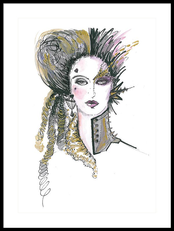 600x798 Steampunk Watercolor Fashion Illustration Framed Print By Marian Voicu