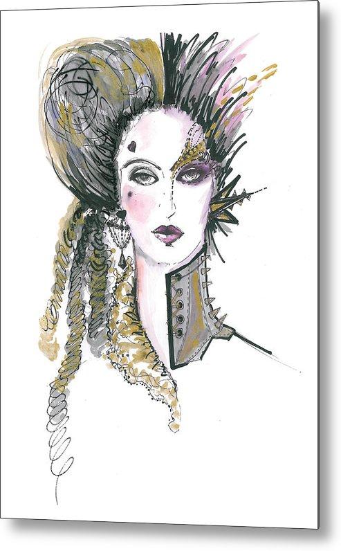 493x796 Steampunk Watercolor Fashion Illustration Metal Print By Marian Voicu