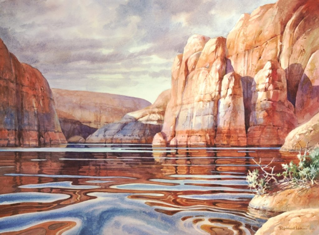 1024x756 How To Paint Texture In Rocks And Cliffs And Reflections Of Lake