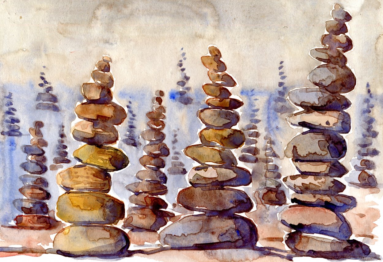 1250x855 Stone Towers Land Art Watercolor The Hiking Artist Project By