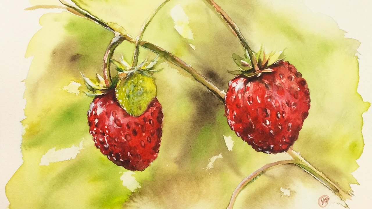 1280x720 Watercolor Wild Strawberries Painting Demonstration