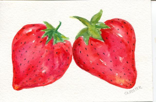 642x423 Strawberries Watercolor Painting Original Art 4 X 6 Original Etsy