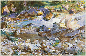 300x196 John Singer Sargent Watercolor Reproductions Mountain Stream