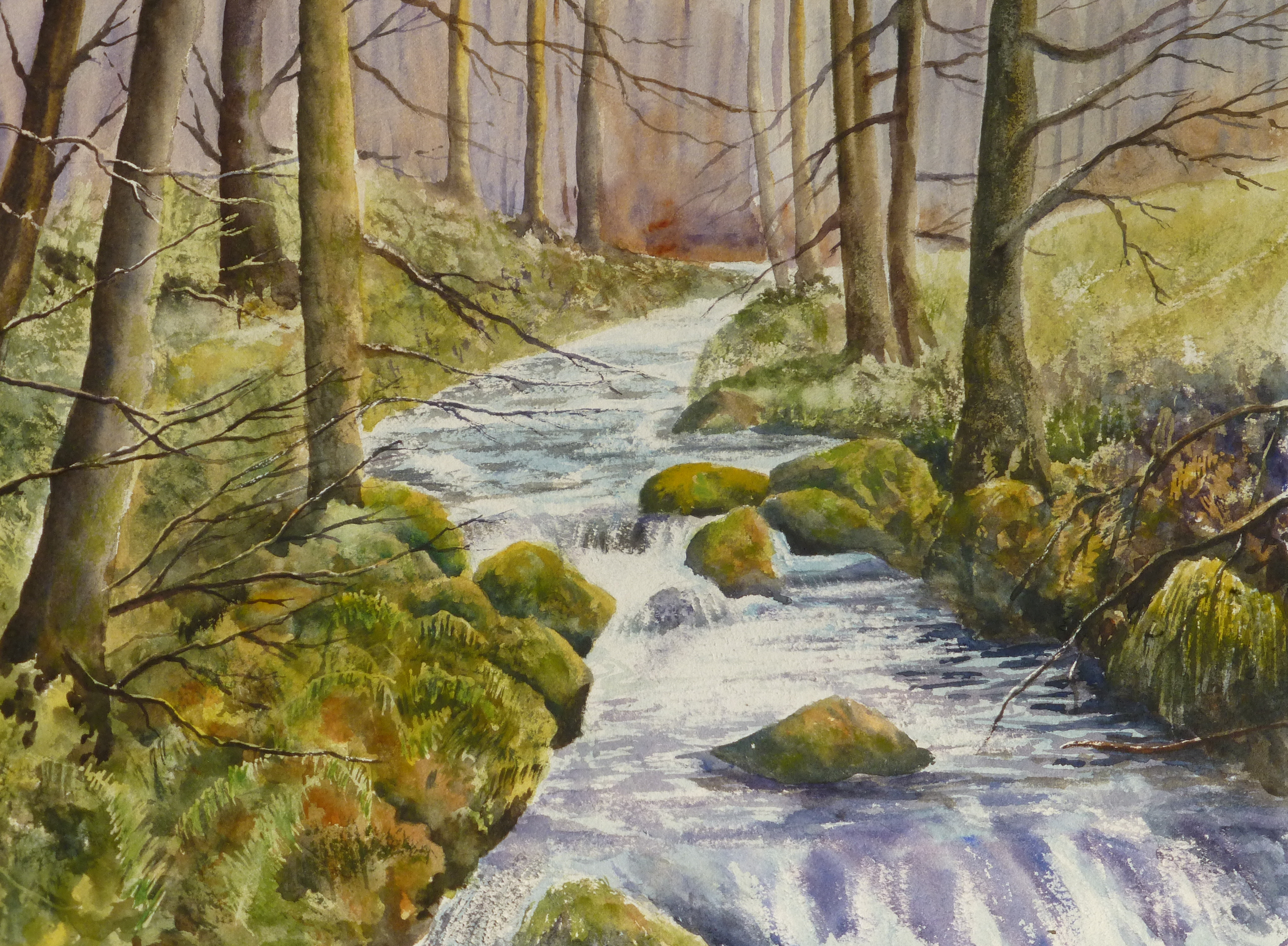 4151x3051 Lake District Stream Watercolour Painting Graham Mcquade