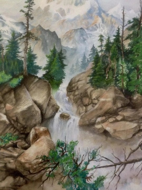 538x720 Lloyd Rogers, Painting, Rocky Mountain Stream, Watercolor Works On