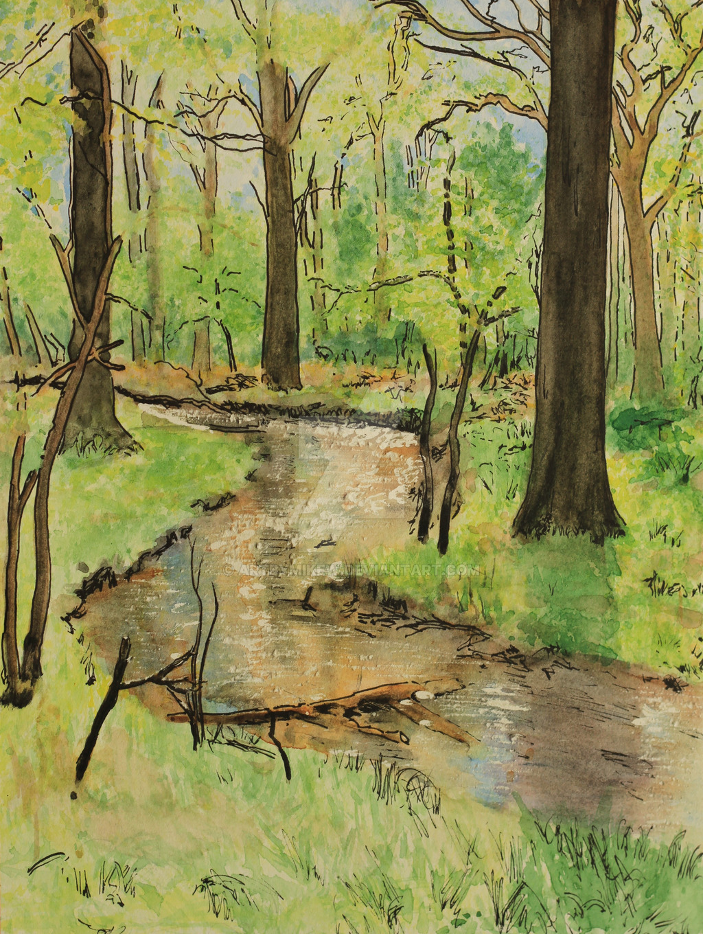 1024x1360 New Forest Stream Watercolour By Artbymikew