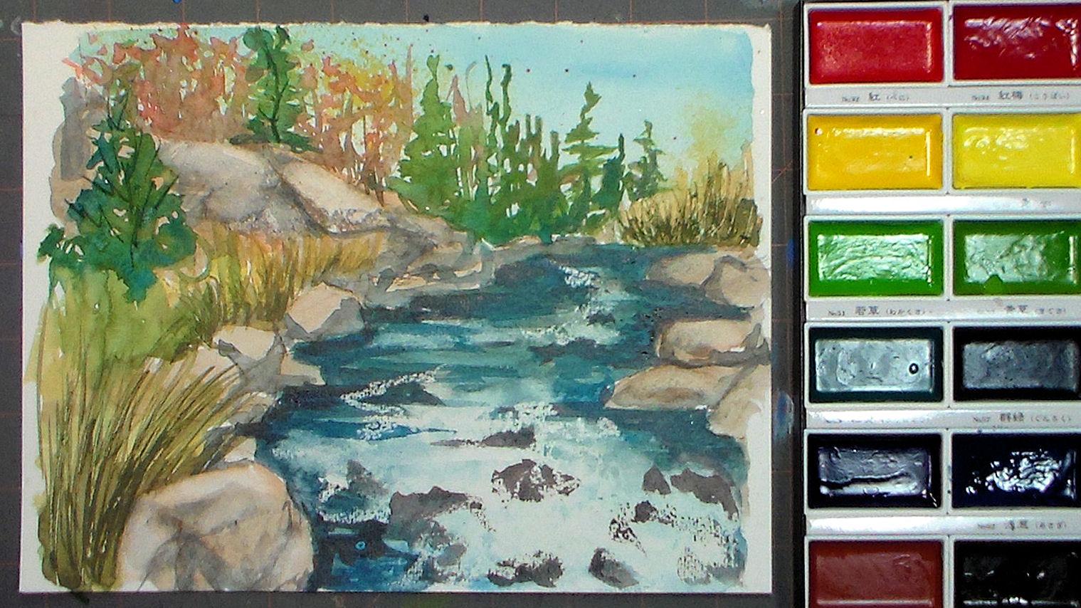 1519x854 Relax And Paint A Happy Little Stream! {Using Gansai Tambi