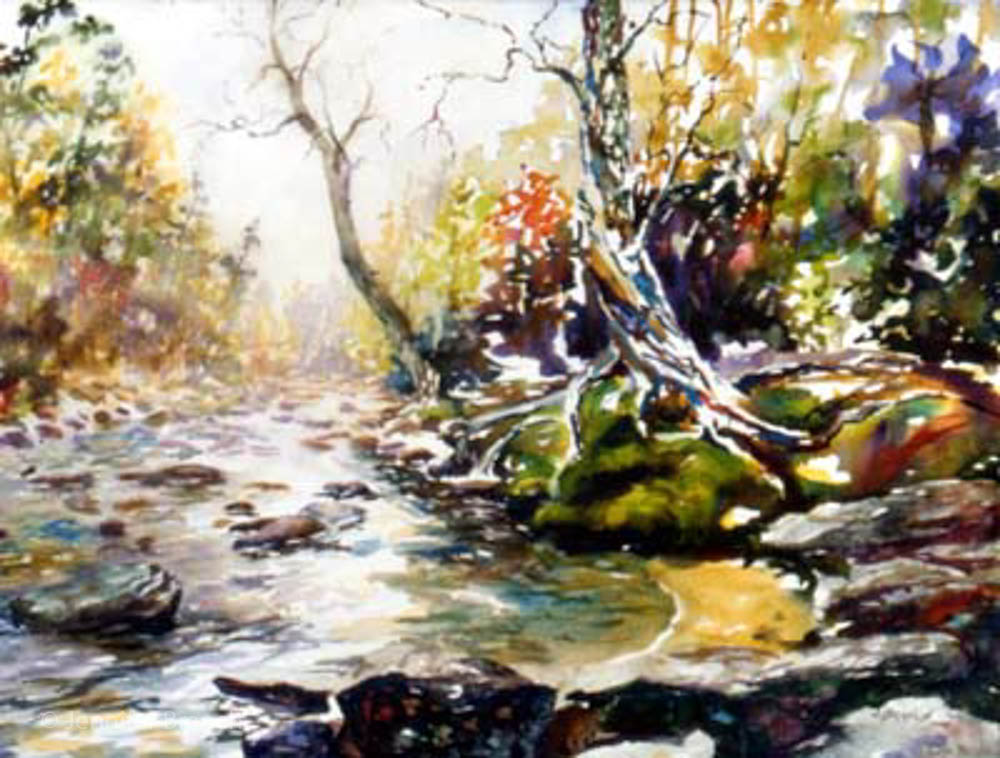1000x758 Sope Creek Tree, Mountain Stream Watercolor Painting Tutorial