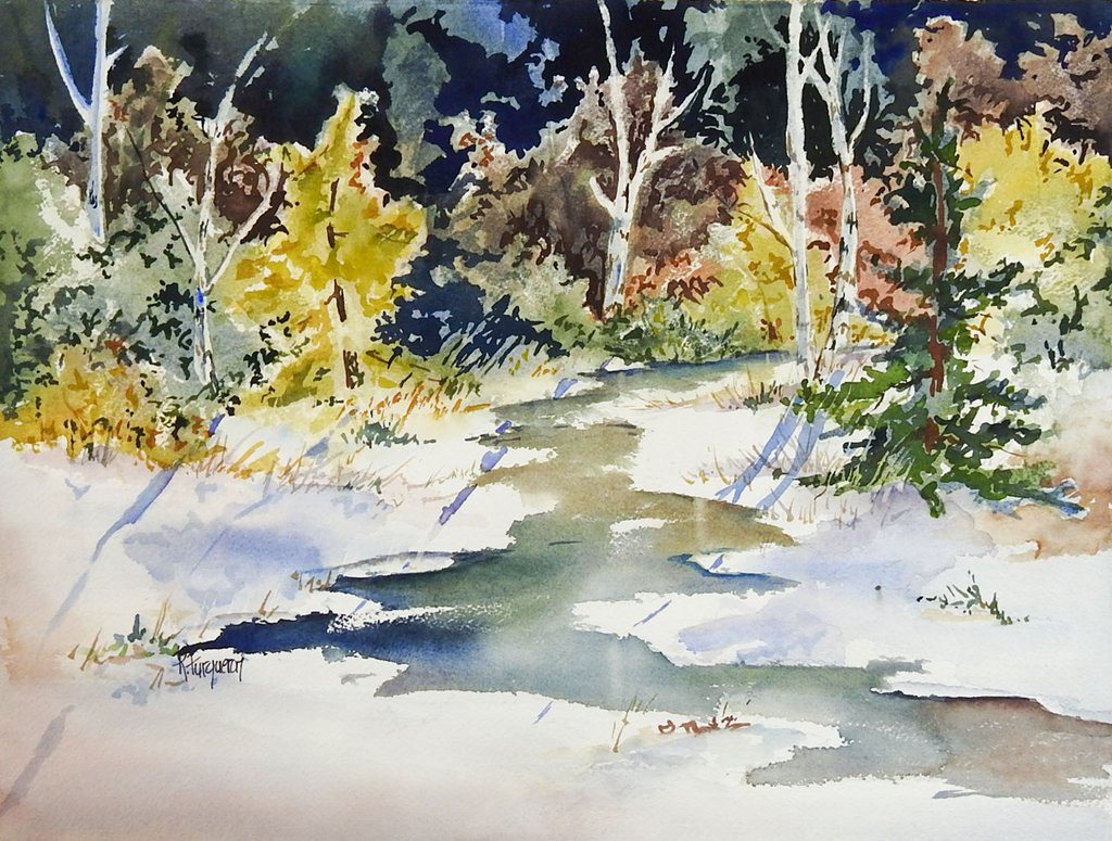 1024x775 Sunlit Forest Stream Watercolor Painting Artifax Antiques Amp Design