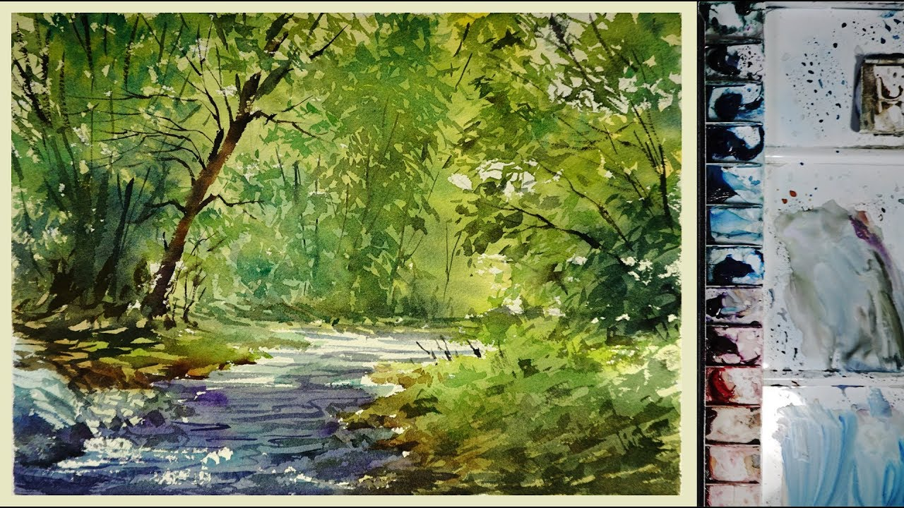 1280x720 Watercolor Landscape Painting The Forest Stream