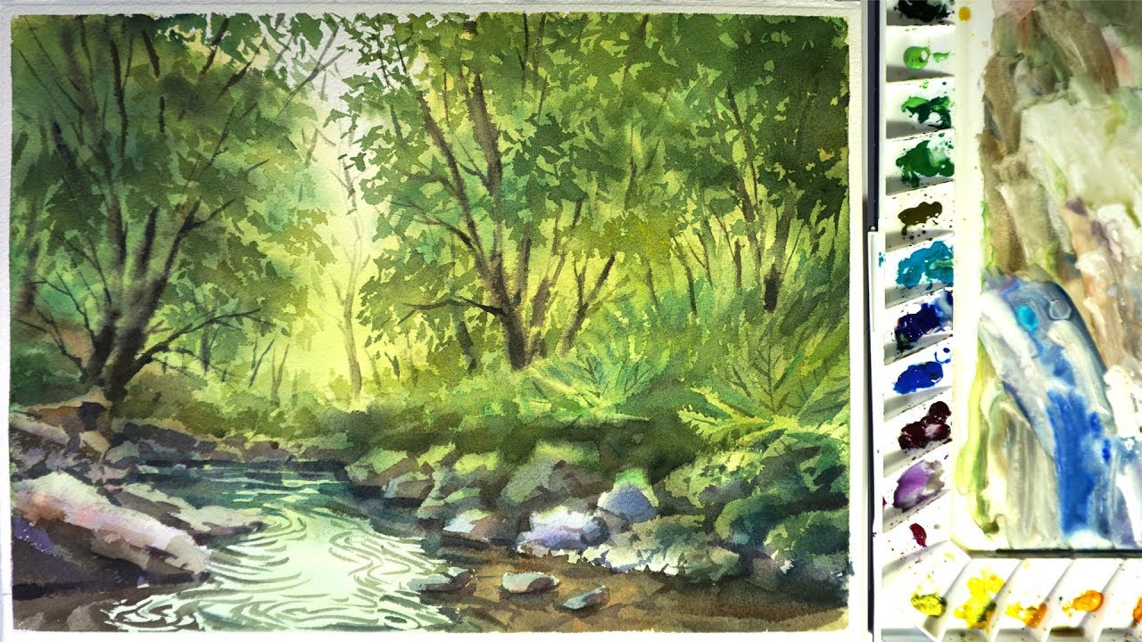 1280x720 Watercolor Landscape Painting The Forest Stream 02