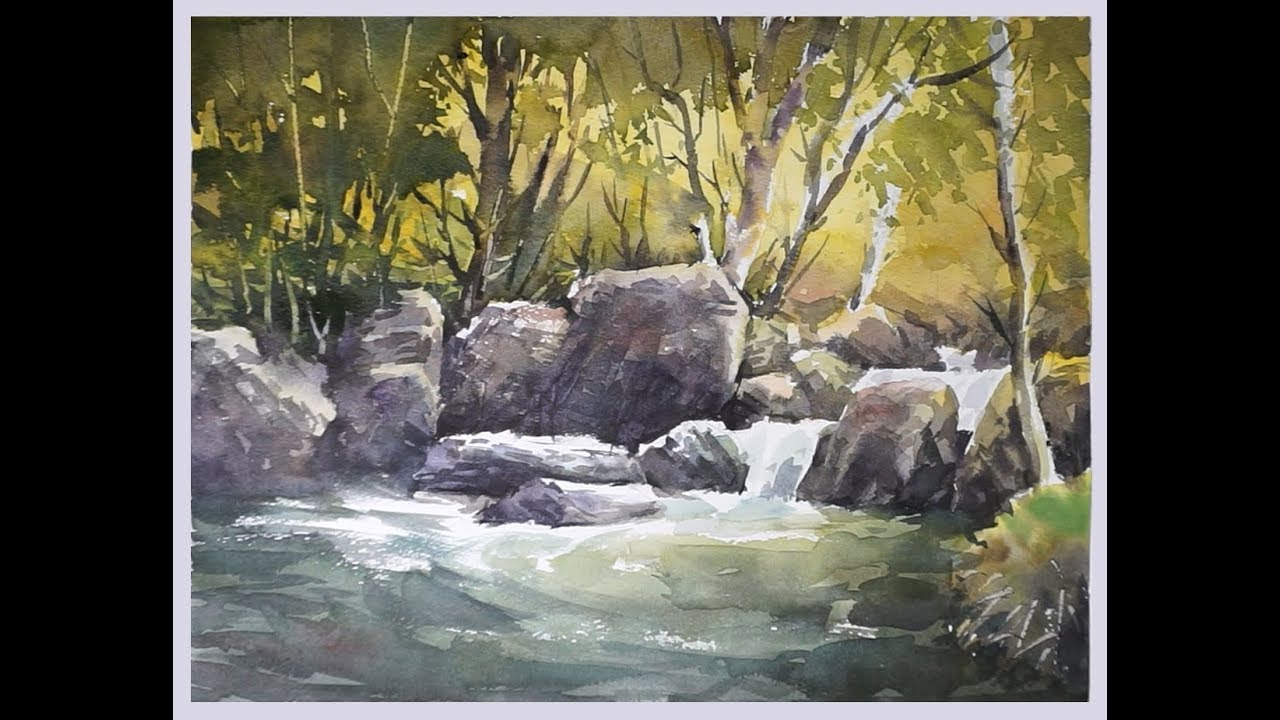 1280x720 Watercolor Painting A Forest Stream