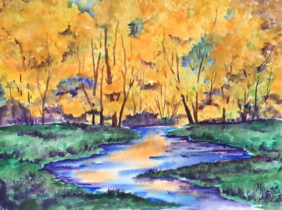 570x424 Autumn Trees Watercolor Watercolor Stream Fall Landscape Etsy