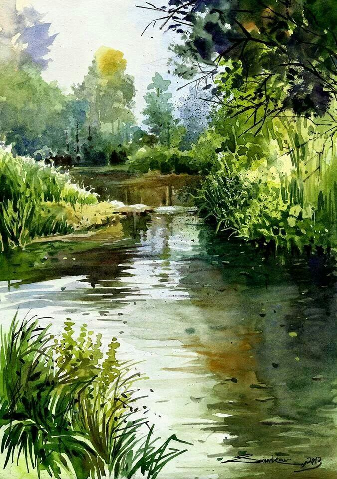 676x960 Watercolor Landscape Forest Stream River Water Love Watercolors