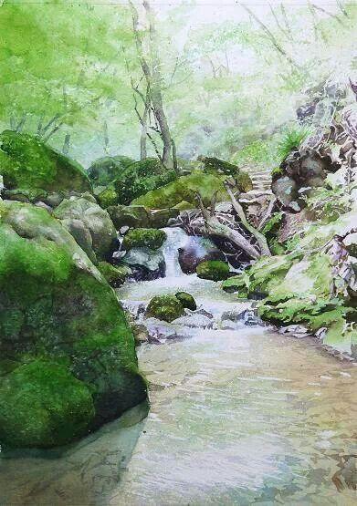 391x555 Watercolor Landscape Forest Stream Rocks Moss Love Watercolors