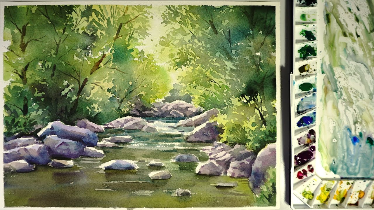 1280x720 Watercolor Landscape Painting The Water Stream