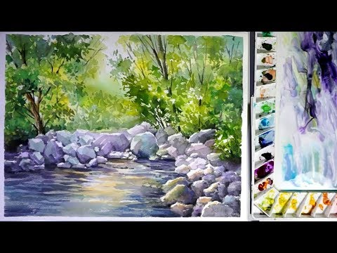 480x360 Watercolor Landscape Painting A Stream