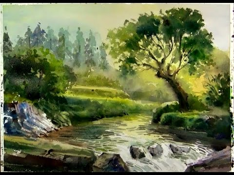 480x360 Watercolor Painting Sunshine On The Forest Stream