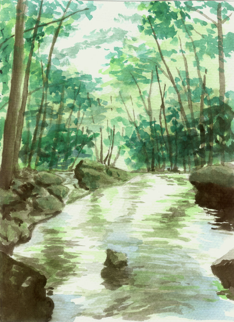 762x1049 Watercolor Stream By Nightvisiongoggles