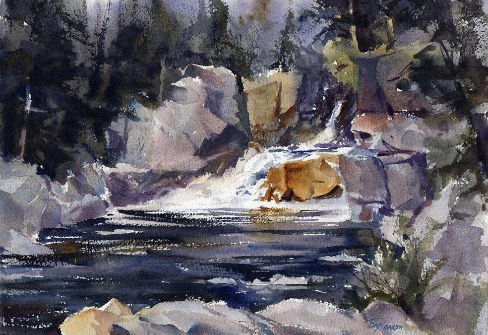 984x675 Flume Falls En Plein Air Watercolor Landscape Painting Of