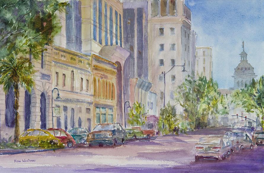 891x585 Ron Weathers South Carolina Watercolor Street Scene Gallery