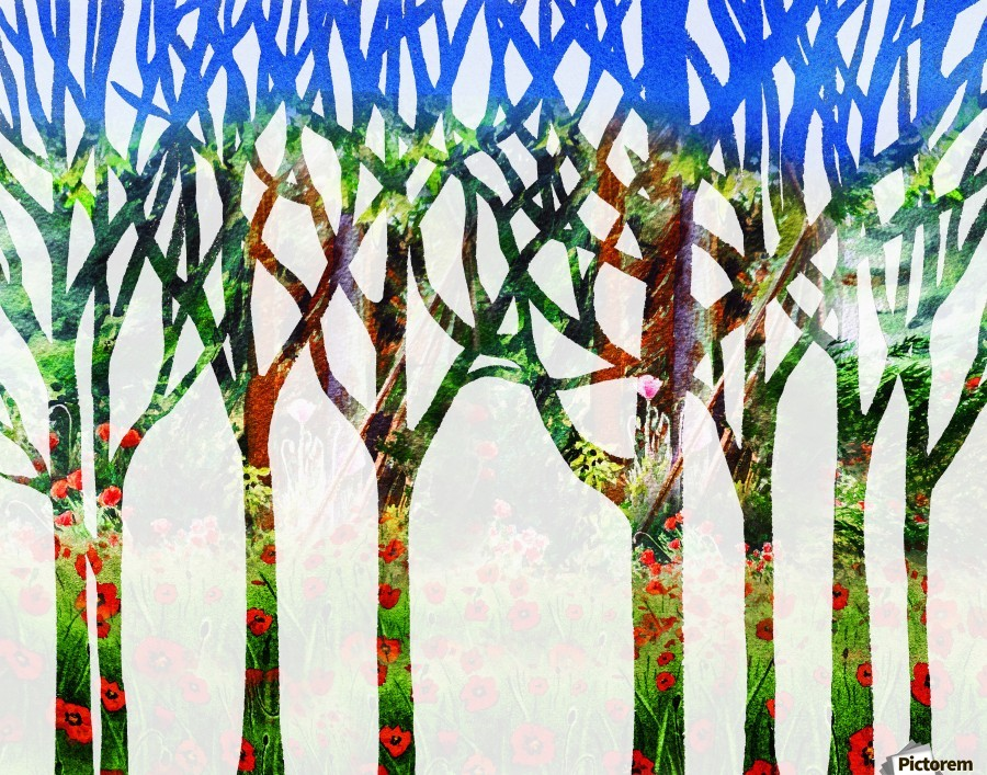 900x707 Watercolor Forest Silhouette Summer