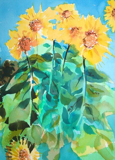 402x559 How To Paint Sunflowers In Watercolor (With Pictures)