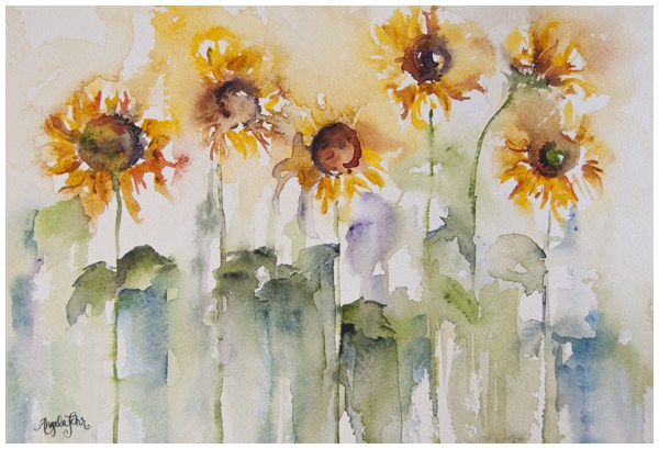 600x409 Like A Sunflower New Watercolor Painting Angela Fehr Watercolours