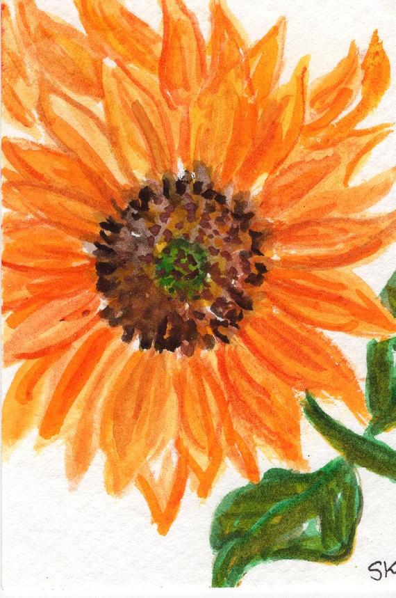 570x859 Original Aceo Sunflower Watercolor Painting Flower Art Card Etsy