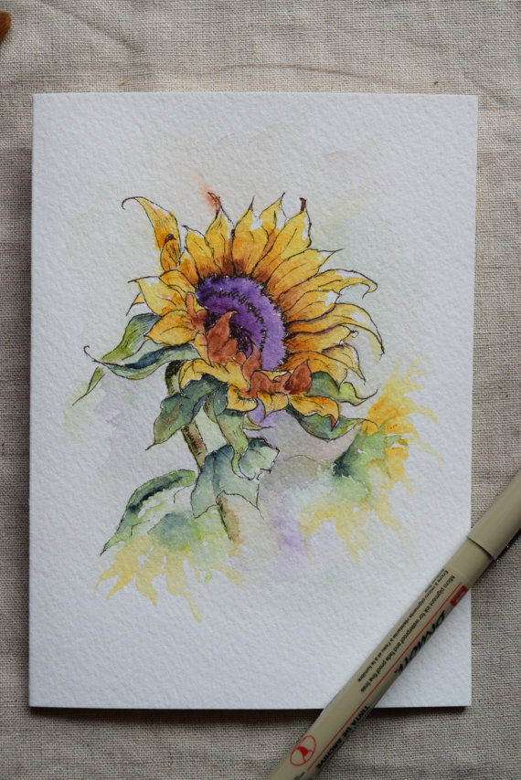 570x854 Sunflower Watercolor Painted Card