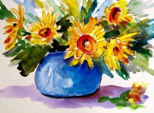 300x221 Sunflower Still Life Watercolor Painting 9x12 Vase Delilah Art Ebay