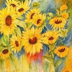 250x250 Sunflowers Watercolour Flower Painting