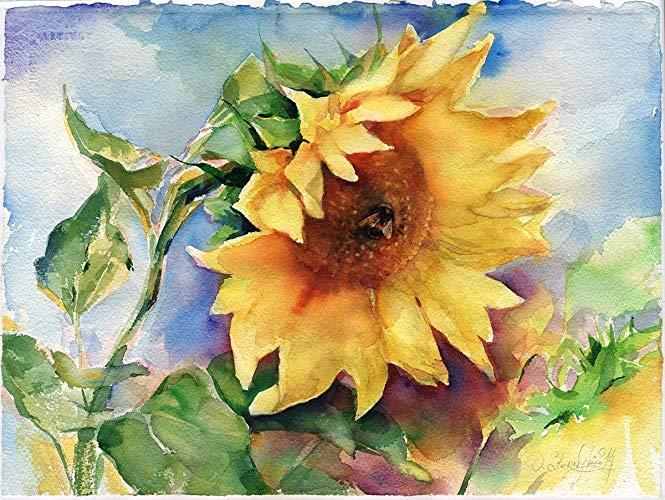 665x500 Fine Art Print Of Sunflower Watercolor Painting Handmade