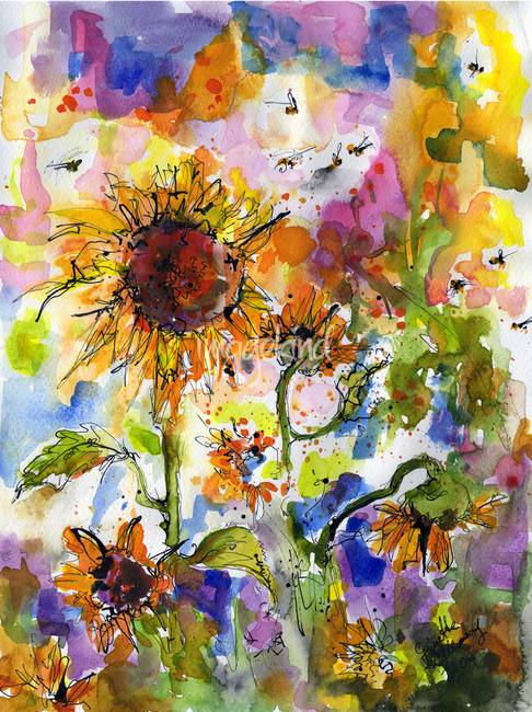 486x650 Sunflowers Amp Bees Watercolor Painting By Ginette By Ginette Callaway