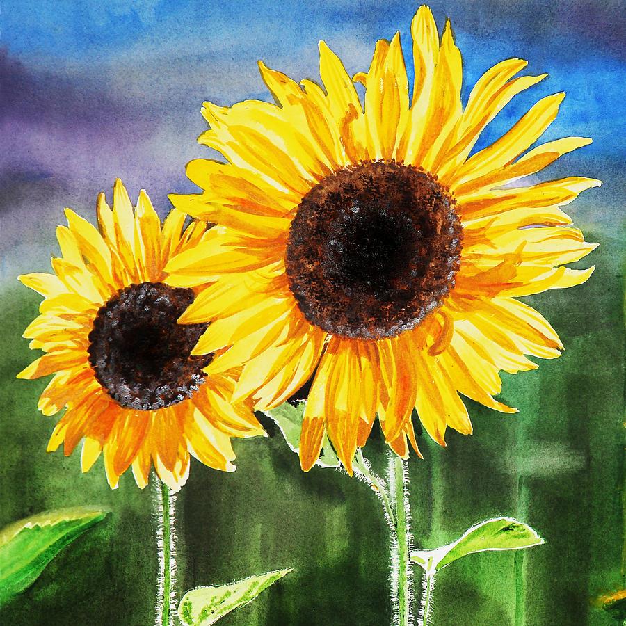 900x900 Two Sunflowers Painting By Irina Sztukowski
