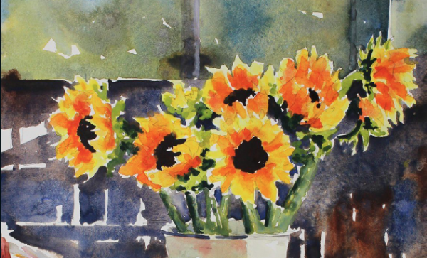 600x363 Watercolor Painting Techniques How To Paint Sunflowers