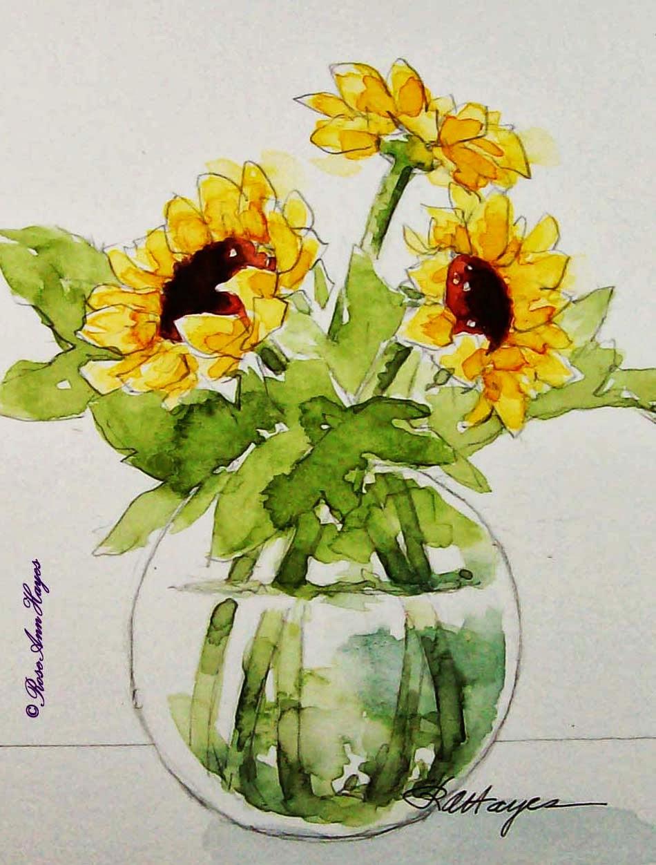 950x1252 Watercolor Paintings By Roseann Hayes Sunflowers Watercolor Painting