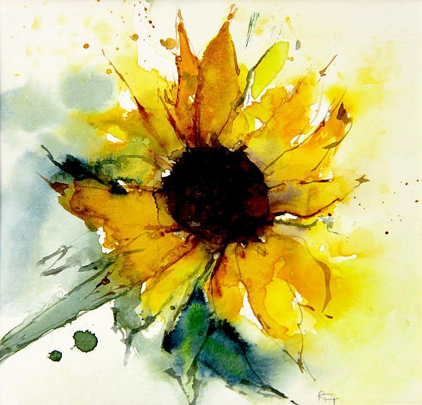600x577 Watercolor Sunflower By Annemiek Groenhout Watercolor Painting