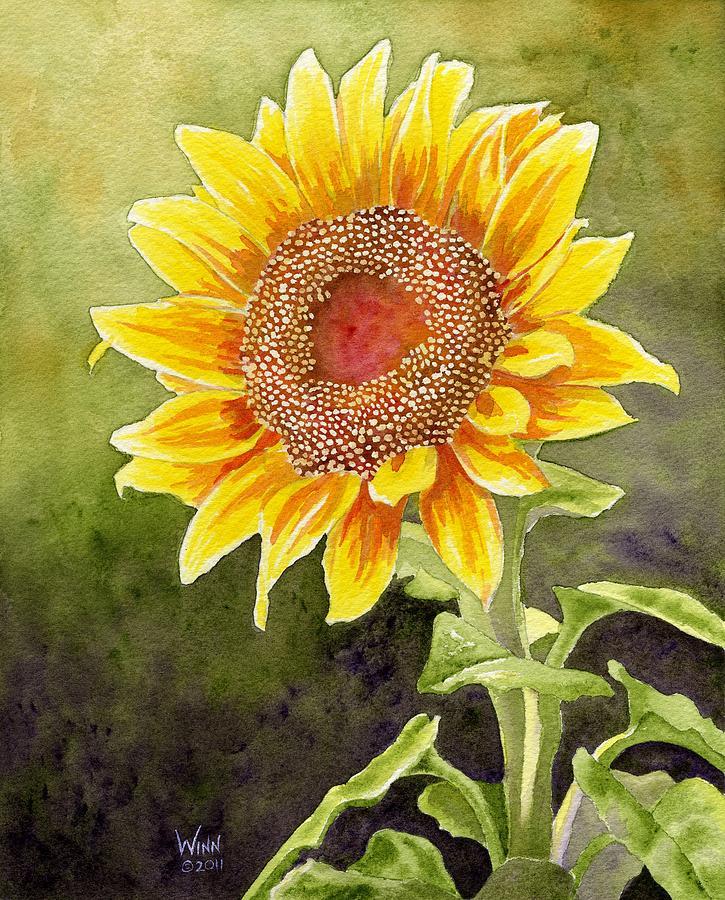 725x900 Autumn Sunflower Painting By Brett Winn