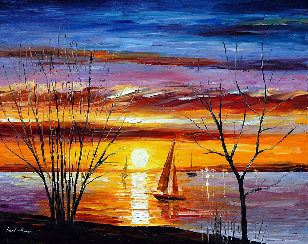 1000x794 Sunrise By The Lake Palette Knife Oil Painting On Canvas By