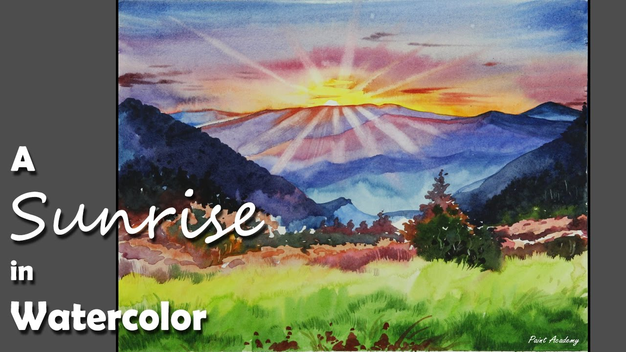 1280x720 Sunrise Step By Step Watercolor Painting