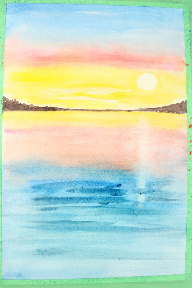 640x959 How To Paint A Sunset With Watercolors Ehow