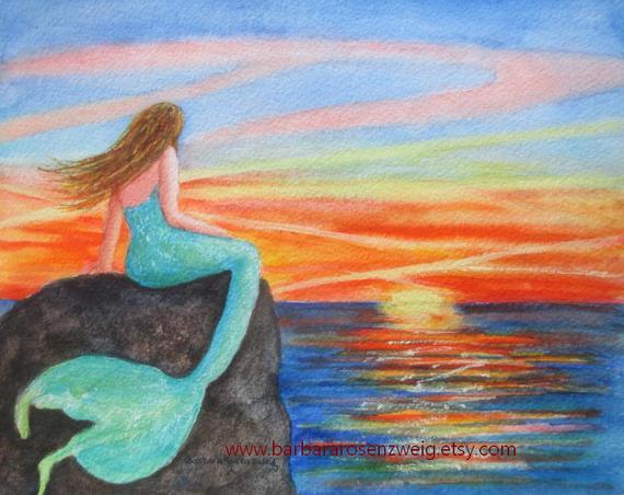 570x452 Mermaid Print Mermaid Wall Art Sunset Painting Beach Decor Etsy