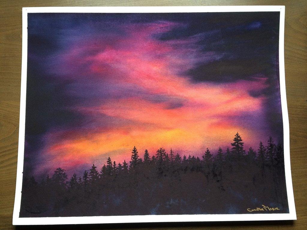 1024x768 Original Watercolor Art Sierra Sunset Original Painting, Framed