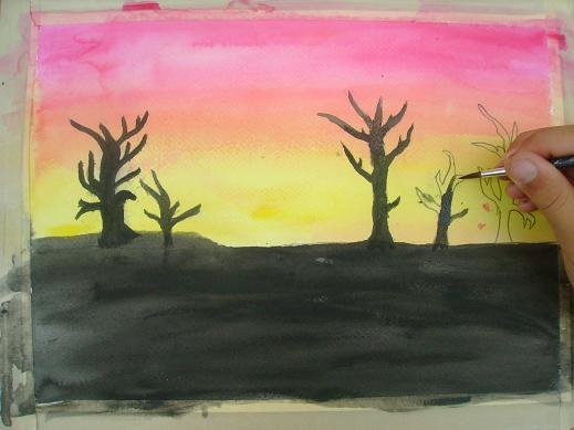 519x389 Paint A Sunset In Watercolor