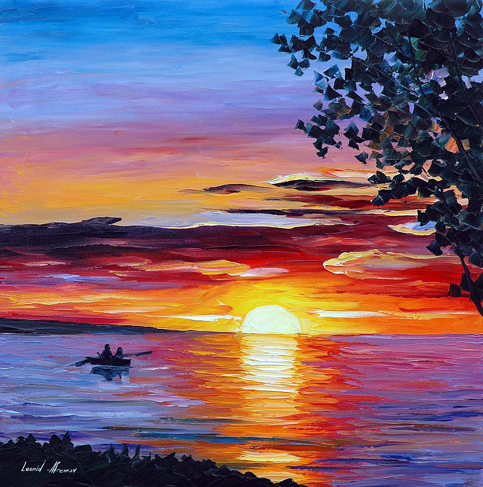 993x1000 Romantic Sunset Palette Knife Oil Painting On Canvas By Leonid
