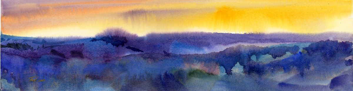1200x309 Sunset I Original Watercolor Painting Vermont Watercolor